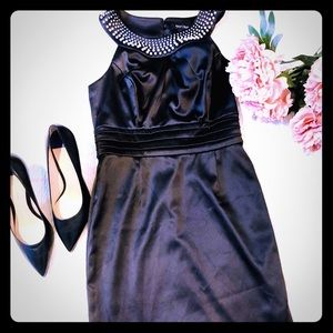 White House Black Market Satin Dress with Pearls